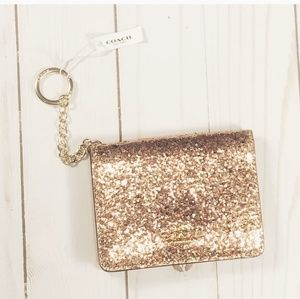 Coach Card and Key Holder in Gold Glitter